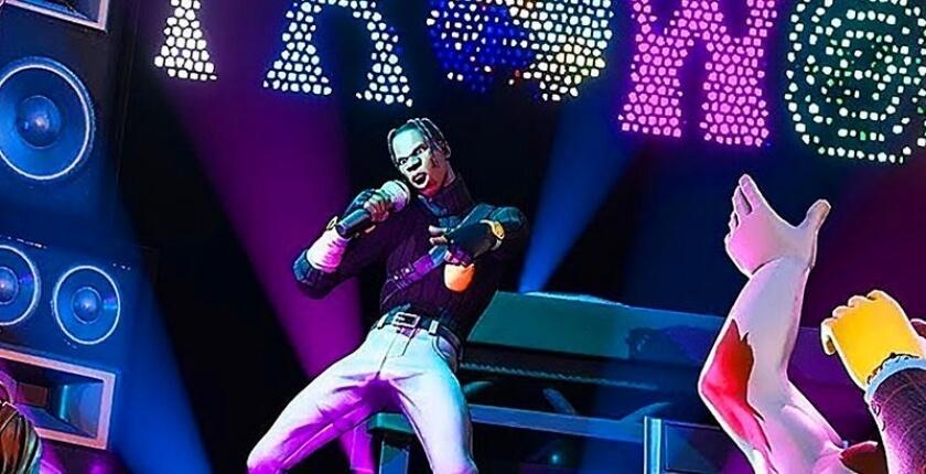 Le rappeur Travis Scott en concert sur Fortnite